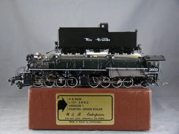 W&R - L-131, 2-8-8-2, D&RGW, Version 1, green boiler, No.3603, open cab, 56 made 1996 SAMHONGSA.01