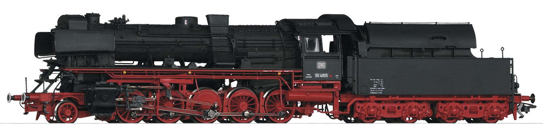 Trix 22051 - Baureihe 50.40 der Deutschen Bundesbahn (DB). Umbauversion mit Neubau-Hochleistungskessel und Franco-Crosti-Rauchgasvorwärmer.1