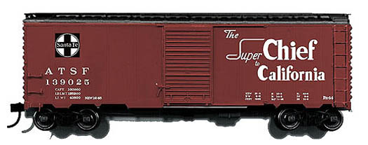 Branchline 1438 - Box Car Bx-44. Mineral red, black roof,Train name slogans, route map, ATSF