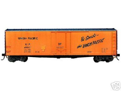 Branchline 1714 - AAR 50' Boxcar, delivery scheme, orange, black ends, silver roof, 'Be Specific-Ship Union Pacific'