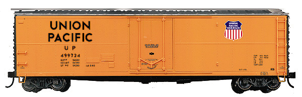 Branchline 1819 - GARX 50' Boxcar, blt.55, 1960 repaint, orange, black ends, silver roof, black lettering, UP shield