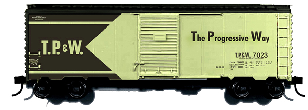 Branchline 9006 - Box Car, AAR 40, 6' DOOR, mid 1960's, cream and green paint scheme, TP&W