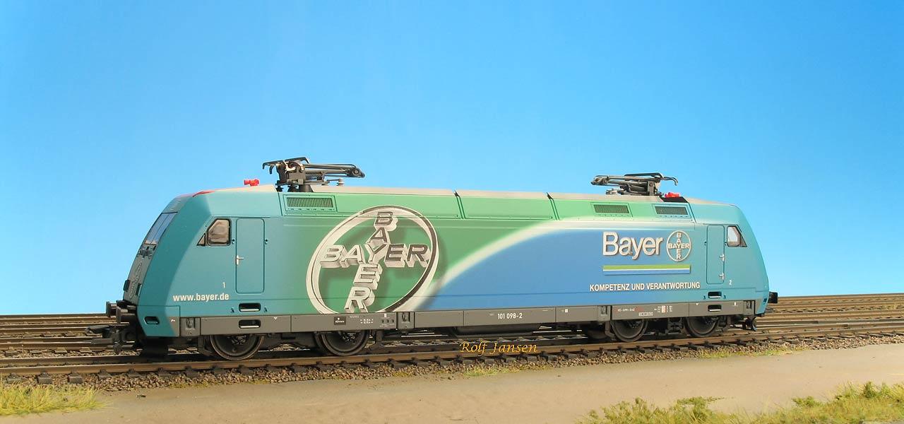 Roco 63723 - BR 101, hellblau-hellgruen, Vollwerbung, 'BAYER', Bayer-Kreuz und 'Kompetenz und Verantwortung'