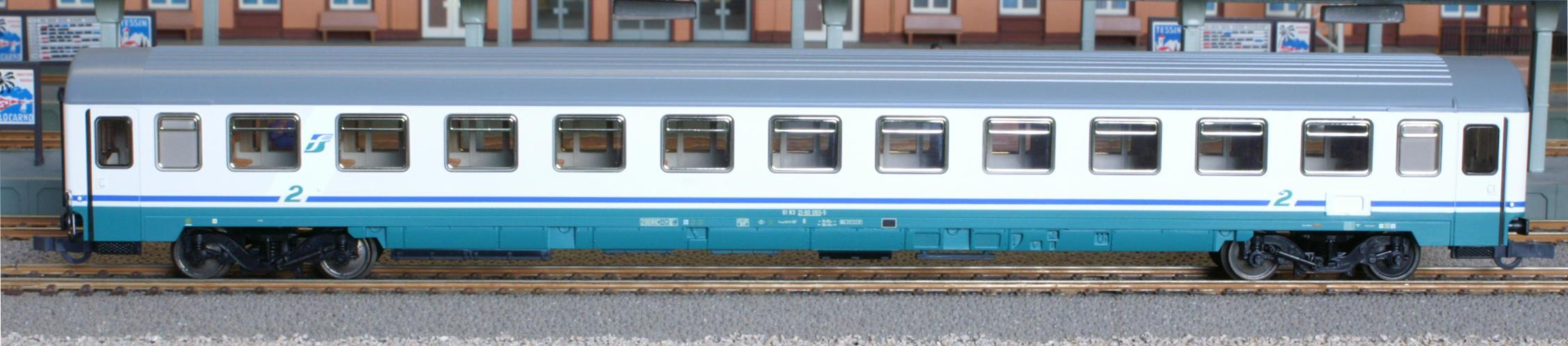 Roco 45219 - FS EURFIMA B-Wagen in neuer Farbgebung, grauweiss-tuerkis, Dach grau.1