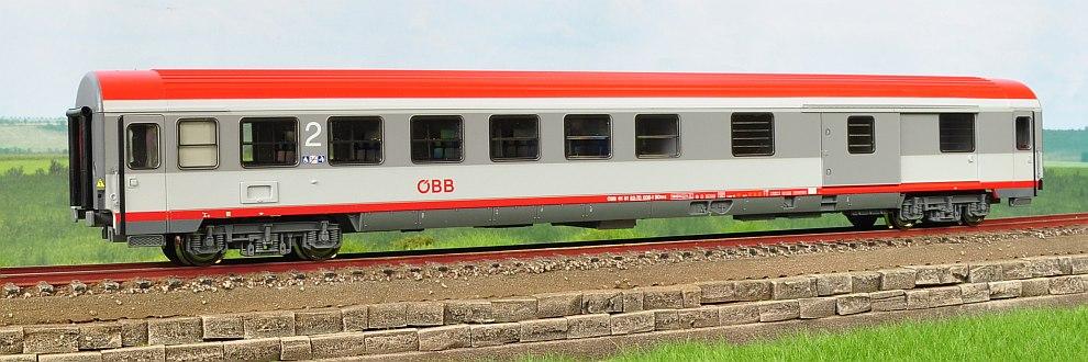 Roco 45356 - BDmsz, 2.Kl.-Gepaeck RIC-Z2, OeBB, weiss-graue Farbgebung 2002, rotes dach, Ep.5