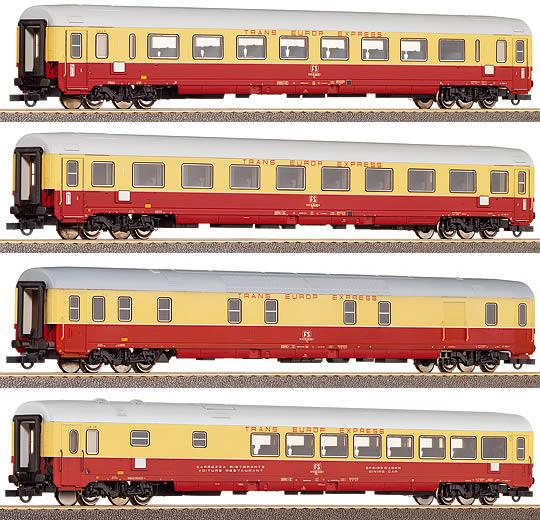 Roco 45906 - 4-tlg. Set TEE-Wagen, FS, Großraum-, Abteil-, Generator-, Speisewagen, Ep 4