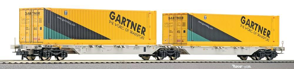 Roco 66597 - Container Doppeltragwagen Sggnos 715 der ÖBB, 2x45' Container Spedition 'Gaertner', gelb hellblau-dunkelblau