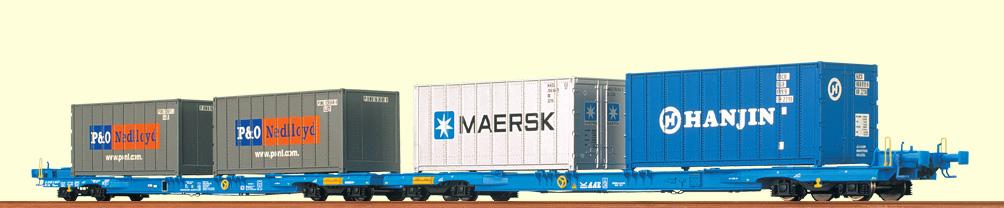 brawa-2302-megafret-niederfluereinheit-2x4-achsige-container-tragwagen