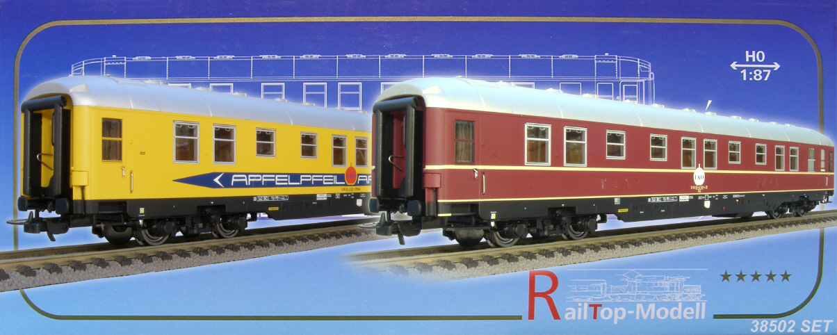 RailTop 38502 - Bcue 173.1, 'Zick-Zack'-Schlafwagen 'APFELPFEIL', 2-er Set