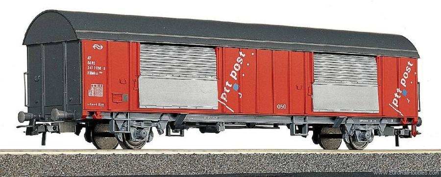 Roco 46281 - Grossraumpostwg. Nr.039, rot, grau = Dach-Stirnwaende-Untergestell, PTT POST, bunte Punkte, NS