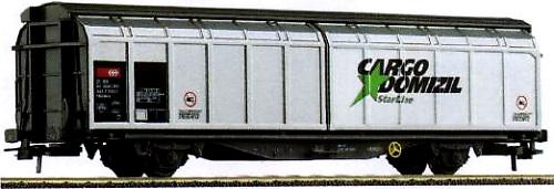 Roco 46503 - Hbbillns, Schiebewandwagen, grau, Schiebetueren alu, auf rechter Tuer auf weissem Feld 'CARGO DOMIZIL'