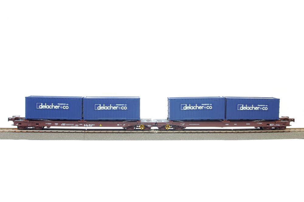 Roco 46563 - OeBB, festgekuppelte Niederflur-Wippenwageneinheit, jeweils mit 2 20'-Containern der Spedition 'delacher'