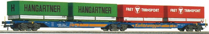 Roco 47101 - 715 Sggmrs, Doppeltragwageneinheit, 2-2-2-achsig, blau, 'Kombiwaggon', Ladung 2 PPW