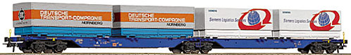 Roco 47102 - 715 Sggmrs, Doppeltragwageneinheit, 2-2-2-achsig, blau, DB AG Keks, Ladung je 2 PPWP