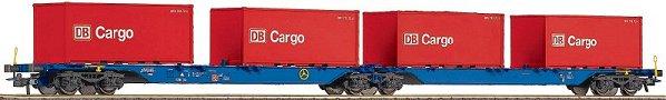 Roco 47103 - 715 Sggmrs, Doppeltragwageneinheit, 2-2-2-achsig, blau, DB AG Keks, Ladung 4 20' Container, rot, DB Cargo
