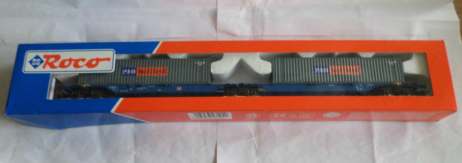 Roco 47104 - SOS 2001 VEDES, Doppeltragwageneinheit, 2-2-2-achsig, blau, DB AG Keks, Ladung 2 x 40' Container ' P&O Nedlloyd ', dunkelgrau
