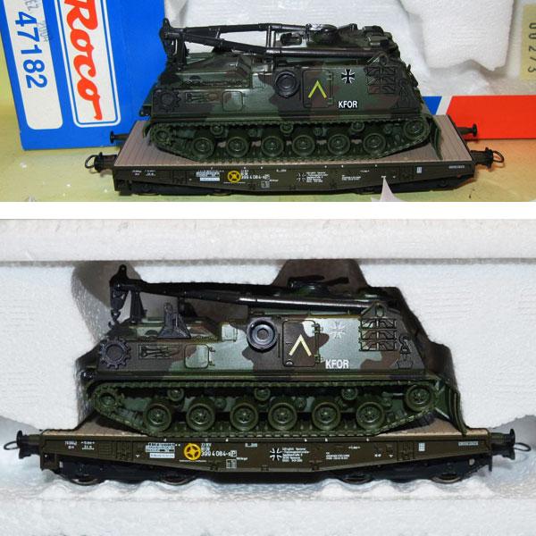 Roco 47182 - Flachwagen, 4-achsig, Bundeswehr, olivgruen, Ladung BERGEPANZER M88 in Tarnfarbe, KFOR.2