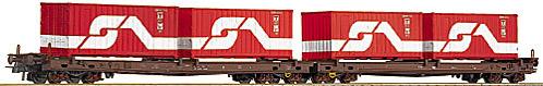 Roco 47541 - 704 Saads, OeBB, Huckepack-Wippenwagen, braun, 2x4-achsig, beladen mit 4 20' Containern OeBB