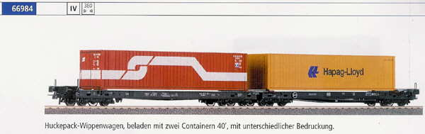 Roco 66984 - Huckepack-Wippenwagen mit Containern