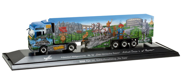 Herpa 121378 - MAN TGX XXL Kühlkoffer-Sattelzug 'Herpa präsentiert 12 - Das Römische Reich', PC