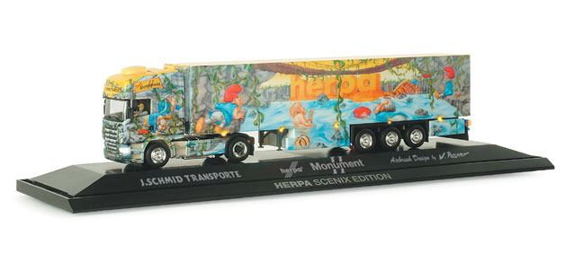 Herpa 461054 - Scania R TL Kühlkoffersattelzug, 'Monument Truck II', SCENIX with sound