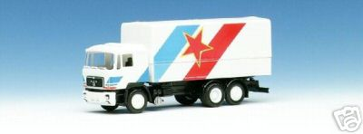 Herpa 859 121 - MAN F90, Solo-LKW, Flaggendesign, 'Jugoslawien', SOS SEIBERT 1988