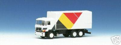 Herpa 859 145 - MAN F90, Solo-LKW, Flaggendesign, 'Belgien', SOS SEIBERT 1988