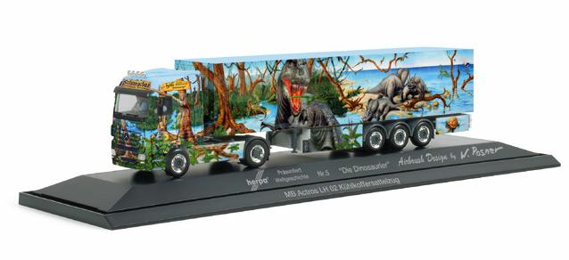 Herpa 120807 - MB Actros LH Kühlkoffer-Sattelzug 'Herpa präsentiert 5, Dinosaurier', PC