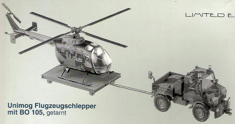 Roco 837 - SOS 1999, Pritsche, Unimog, Flugfeldschlepper mit Platformanhaenger und Hubschrauber BO 105 in Tarnfarbe