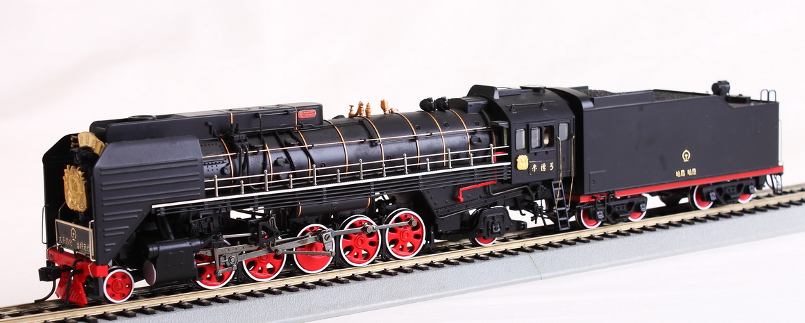 Bachmann-Spectrum CS00106 - QJ12WT, Chin. D-Lok QJ, Santa Fe Class, 2-10-2, Nr.2470 'ZhuDe', goldene Rauchkammerdeko, 4-achs. Tender.2