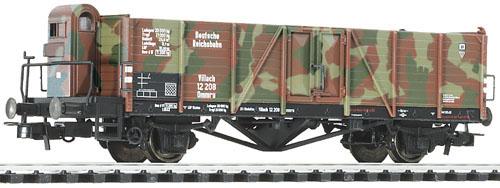 Liliput 221 798 - Offener Güterwagen, mit Bremserhaus,Tarnanstrich, DR, Ep. II.1
