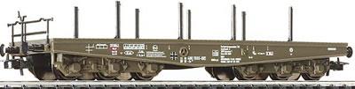 Liliput 221220 - DB, 6-achsiger Flachwagen mit Rungen fuer Schwertransporte, olivgruen, Federpuffer, BUNDESWEHR