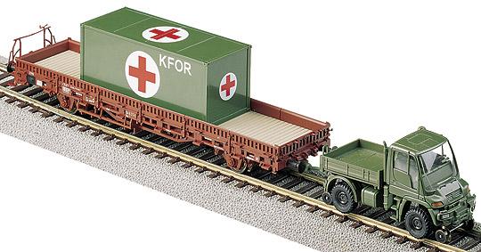 ROCO 877 - Kbs, mit BW 20'-Container und 2-Wege Unimog oliv
