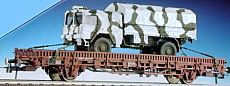 Roco 47399 - Kbs 442, Rungenwagen mit Bremserbuehne, beladen mit 7t-MAN-LKW in WINTER-Tarnfarbe.2